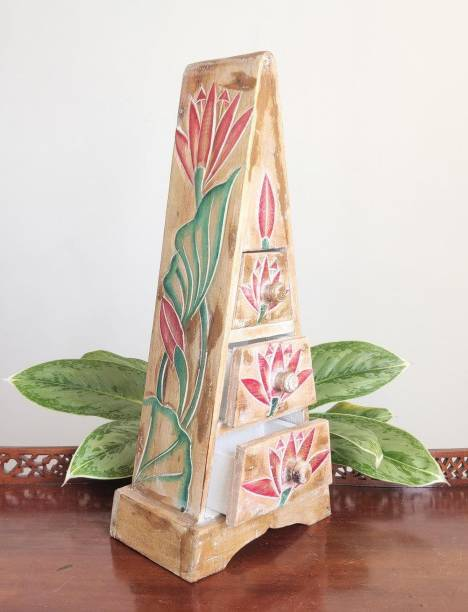 TAMARA ARTEFACTS Home Decor. Pyramid Chest of Drawers, Handmade and Painted with Lotus Flower Motifs. Solid Wood Free Standing Chest of Drawers