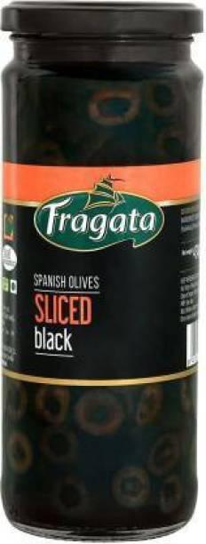 Fragata Spanish Olives Sliced Black (Ideal for Pizzas and Salads) Olives & Peppers