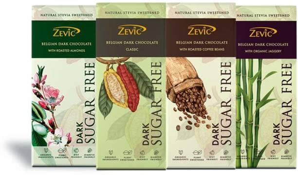 Zevic Sugar Free Belgian Dark Chocolate ( Roasted Almonds | Classic Chocolate | Roasted Coffee Beans | Organic Jaggery) Bars