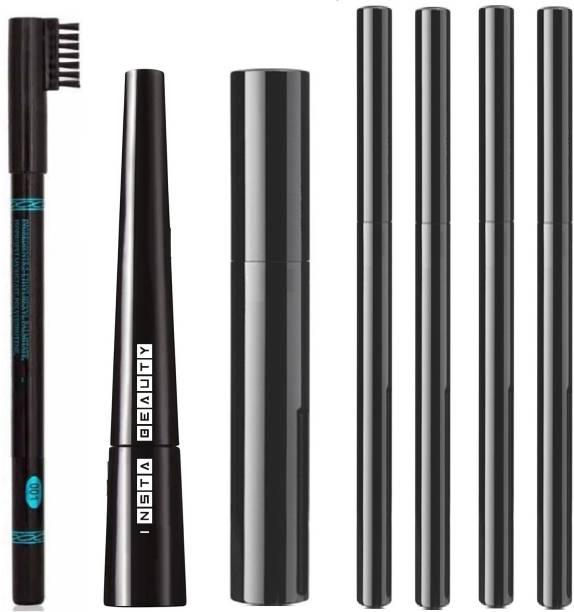 Insta Beauty Insta Eyeliner + Hypercurl Mascara + Eyeconic Kajal 4 Piece + Eyebrow Pencil