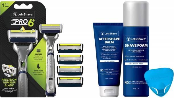 LetsShave Pro 6 Advance Shaving Value Kit for Men - Pro 6 Advance Blade (Pack of 4) + Razor Handle + Razor Cap + After Shave Balm +Shaving Foam 200 g