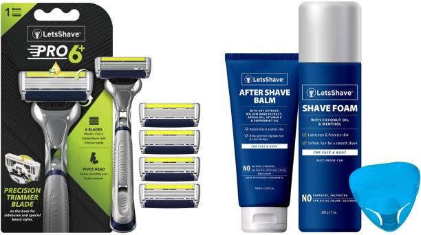 LetsShave Pro 6 Plus Shaving Razor Value kit, Razor handle + 4 Blades + After Shave Balm + Shave Foam + Razor Cap