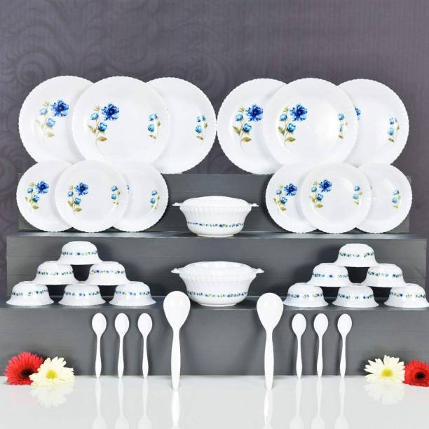 JORDY Plastic Brand Exclusive and Microwave Safe, Plastic Printed Round Flourish Dinner Set of 36 Pieces (Blue) Dinner Set