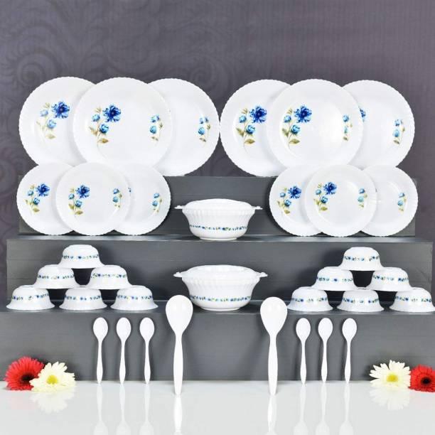 JORDY Pack of 36 Plastic Dinner Set Blue Dinner Set