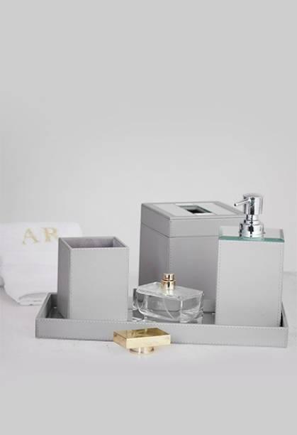 Paper Pebbles Bathroom Accessories, Leather Bathroom Accessories