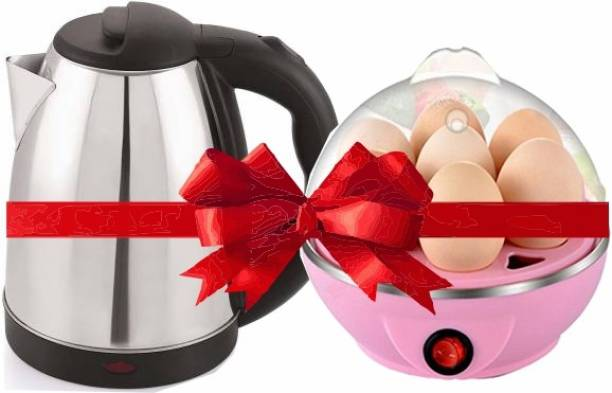 MONSTA X FIT Stainless steel automatic electric multipurpose KETTLE (2 L, Black) with EGG COOKER XC01 Electric Kettle