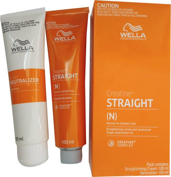 Wella Professionals Creatine Straight (N) for Normal to Resistant Hair Straightening Cream and Neutralizer Single Application Kit