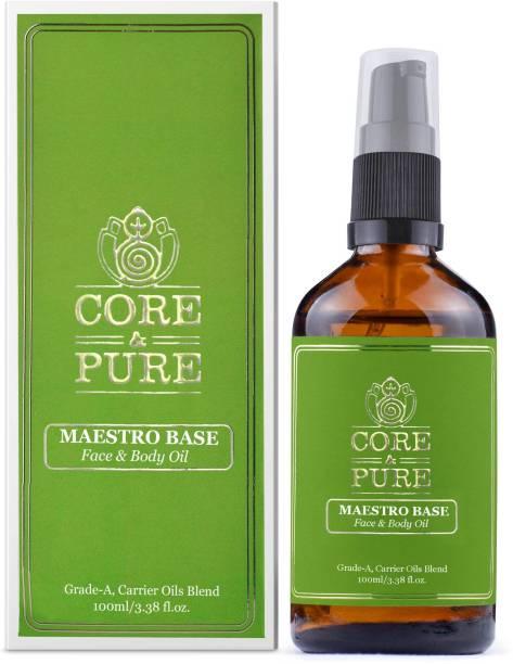 CORE & PURE Maestro Base Massage Oil for Nourishing, Hydrating, Moisturising Body & Face, Natural Vit-E Infused, Ayurvedic (100ml)