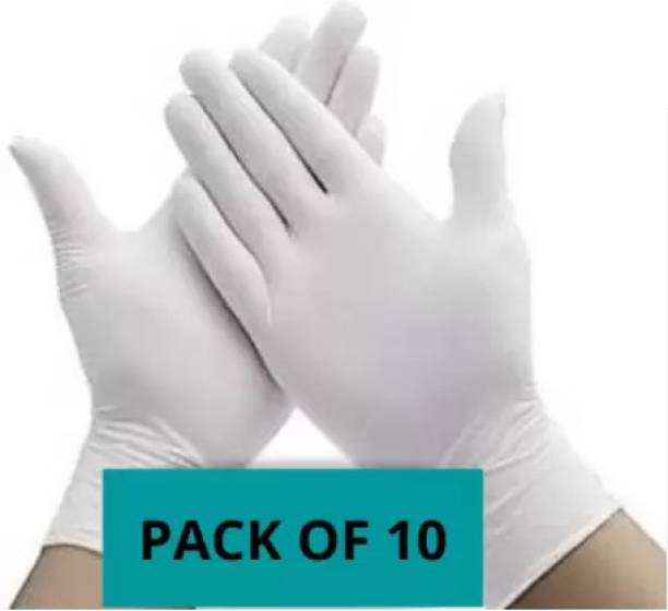 BBEST Disposable Latex White gloves Latex Gloves Hand Protection Rubber Surgical Glove for Hospital, Clinic, Sanitary & Kitchen Latex Surgical Gloves (Pack of 10) Latex Surgical Gloves