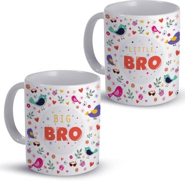 Jhingalala Big Bro and Little Bro Printed Combo Pack for Sister, Brother, Cousins For Birthday, Gift Pack For Raksha Bandhan Ceramic Coffee Mug