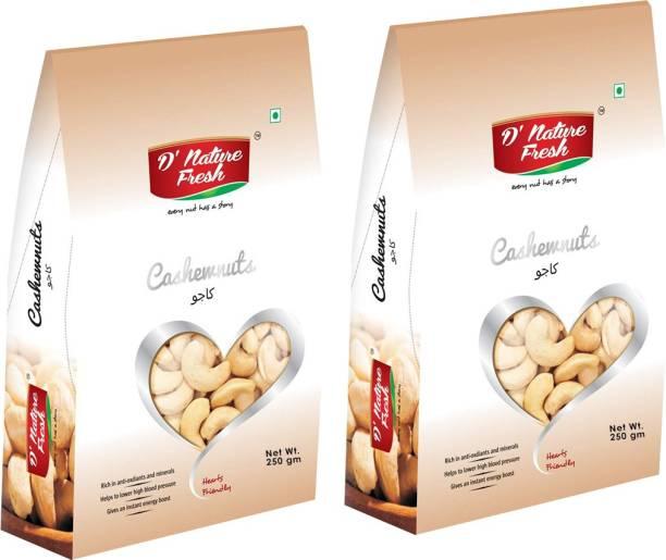 D NATURE FRESH Raw Cashews Nuts ( Pack of 2) 250g Each Cashews