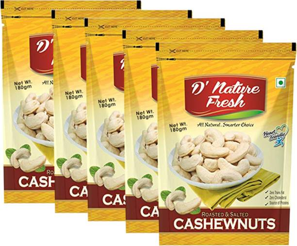 D NATURE FRESH Roasted & Salted Cashew Nuts ( Pack of 5) 180gm Each Cashews