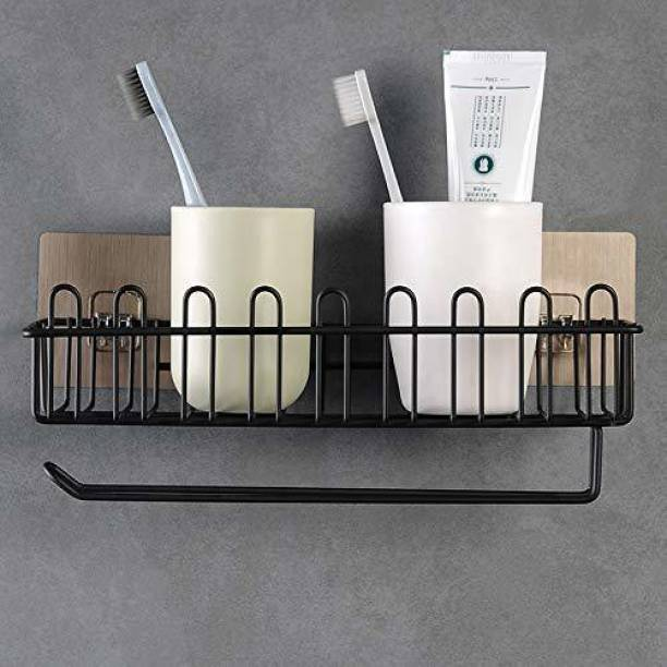 Namrata impex Self Adhesive Wall Hanging Shelves for Bathroom and Kitchen with Towel and Tissue Rack Stand, Wall Spice Rack Stand Stainless Steel Shower Caddy for Bathroom Storage Steel Toilet Paper Holder