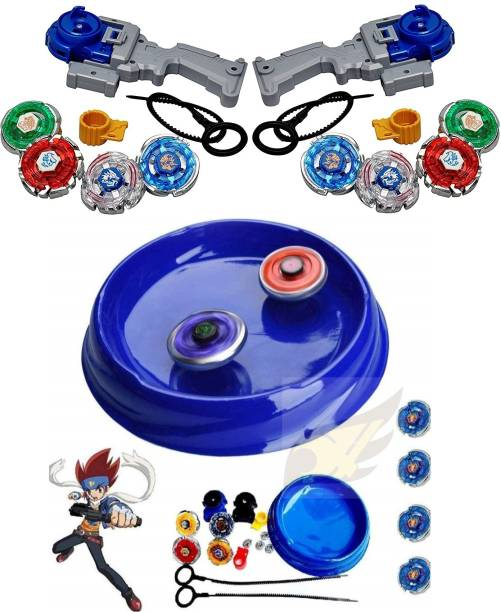 Authfort 4D Metal Fusion Beyblades Combo New 12 in 3 Toy Set with Stadium and 2 Launchers Combo pack of 3 pieces