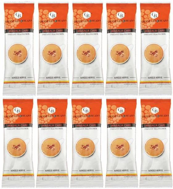 Granules and Beans Masala Chai Instant Premix Bulk Pack (50 Sachets) Ginger, Cardamom, Cloves Masala Tea Pouch