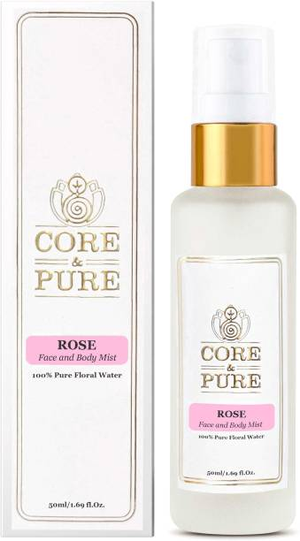 CORE & PURE Rose Floral Water for Face Toner, Hydration & Open Pores, 100% Natural Essential Oil Hydrosol (50ml) Men & Women