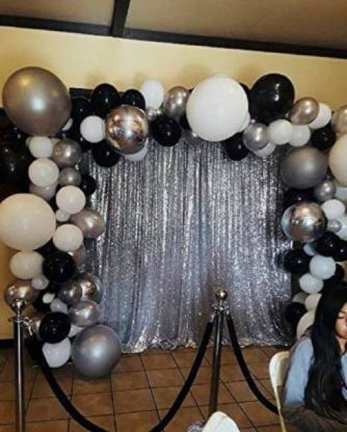 M A NATURAL BEAUTY Solid 2 silver curtain Balloon PACK OF 102 Balloon
