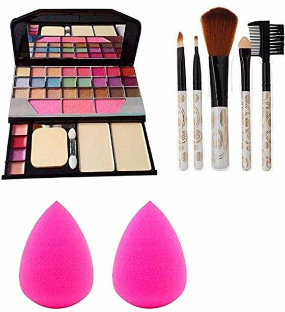 Detak 6155 Makeup kit + 5 pcs Makeup Brush + 2 pc Blender Puff Combo (Pack of 4)