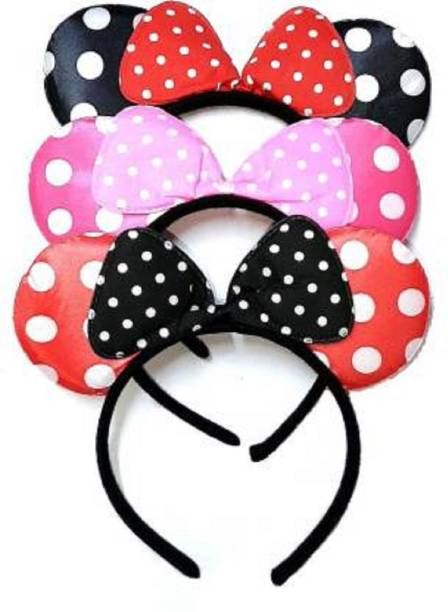 LUCKY Enterprisess Lucky Enterprise kids Baby Girls MOUSE EAR Headbands Costume Party Hair Accessories Set Combo 0f 3 pc Hairband Hair Band (Multicolor) Hair Band