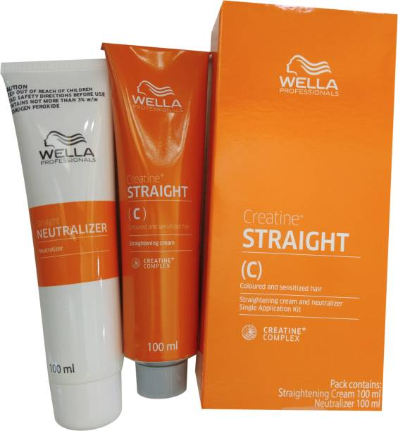 Wella Professionals Creatine+ Straight (C) for Coloured and Sensitized Hair Straightening Cream and Neutralizer Single Application Kit