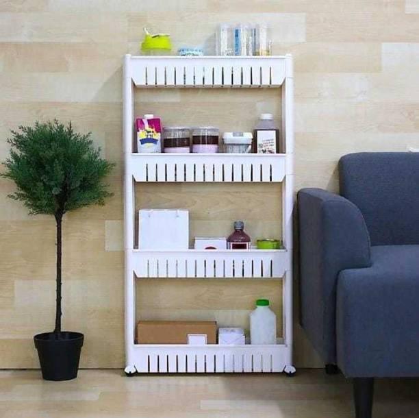 HUMBLE KART 4 Tier Kitchen Storage Organiser Rack Holder with Wheels(4 Layer, White) Plastic Kitchen Trolley