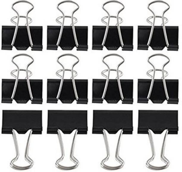 VAJIN 12 Pcs, Binder Clip 19 mm Stainless Steel Paper Clip, Binder Clip, Office Stationery Clip (Black) Manual Multi Binder
