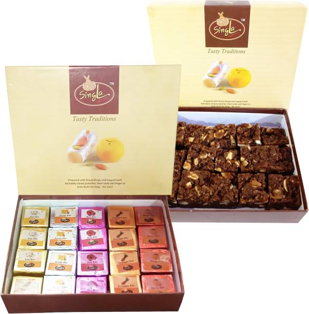 Singla Dodha Burfi 400g Mix Bite Burfi 400g Combo (Pack of 2*400, 800) Festive Gift Box