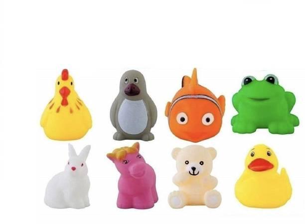 vworld Attractive And Colorful Non-Toxic Baby Squeeze Sound Bath Toy Chu Chu Set of 8 Pcs Mix Animal Cartoon Shape Toy (8 Chu Chu Toys) Bath Toy