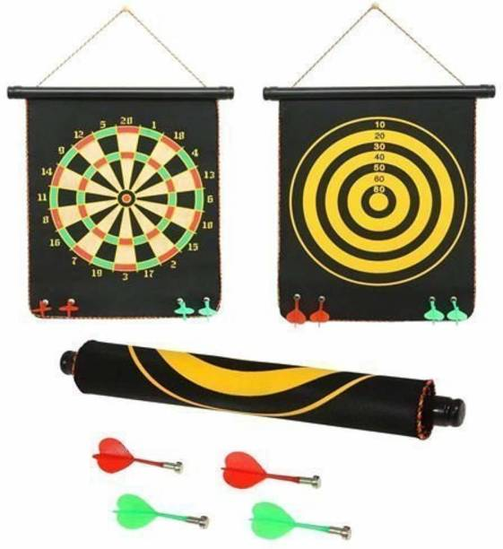 vworld Amazing High Magnetic Double Faced Portable and Foldable Dart Game with 4 Colorful Non Pointed Darts for Kids , Multicolor, 12-Inch Dart Board Dart Board Board Game