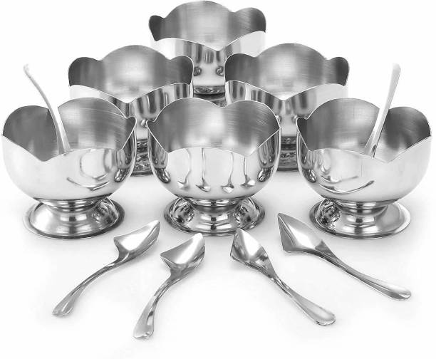 NAMANSHU TEX Flower Shape Ice Cream Cup with Dessert Spoon Steel Soup Bowl (Silver, Pack of 12) Spoon, Bowl Serving Set