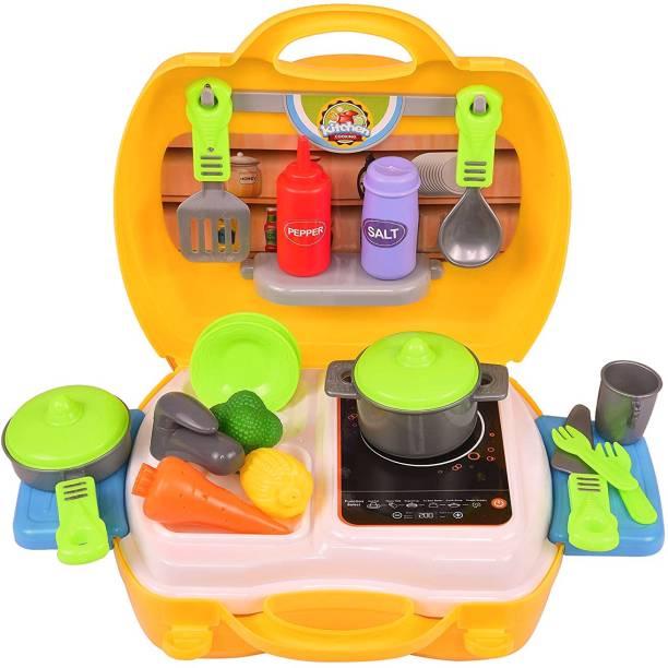 REAVIAN Luxury Brief Case Kitchen Set Toys for Kids
