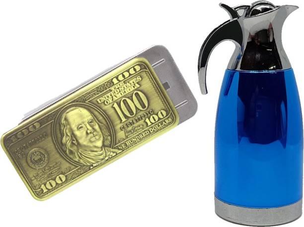 Ala Flame 100 Dollars And Tea KETTLE Shaped Premium Look Side Slider Windproof Jet Flame Cigarette Lighter Hookah Pocket Lighter Pack Of 2 Pocket Lighter