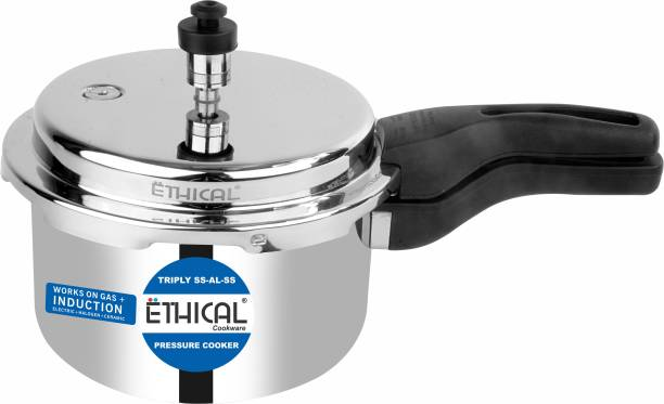 Ethical TRI-NATURE Pressure Cooker 3 Ltr. Induction Bottom (Stainless Steel) TriPly SAS (Steel-Aluminium-Steel - 3 Layers) 3 L Induction Bottom Pressure Cooker