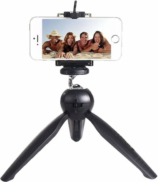 Foxton Mini Tripod Stand+ Universal Mobile Holder/Mobile Mount Clip, YT-228 for Digital Camera & iPhone, Android Phone Smartphones and Selfie Sticks, DSLR,with Universal Holder Tripod (Black, Supports Up to 1000 g) Tripod