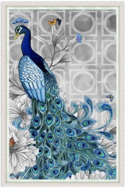 iDream 5D Diamond Painting Kit Peacock (Right) DIY Cross Stitch 18 inch x 12 inch Painting