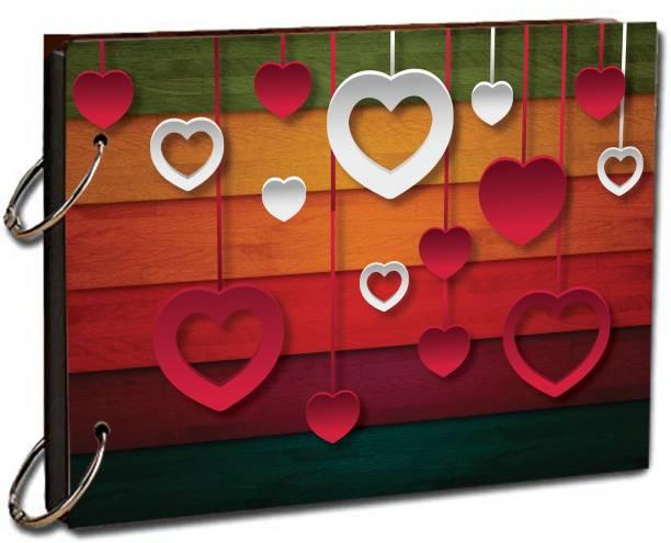 """paper pebbles Multicolor Heart Shape Festive Memories for Love & Birthday Memories & Friends Love 20 Black Color Paper Size """" 22x16 """" cm Album"""
