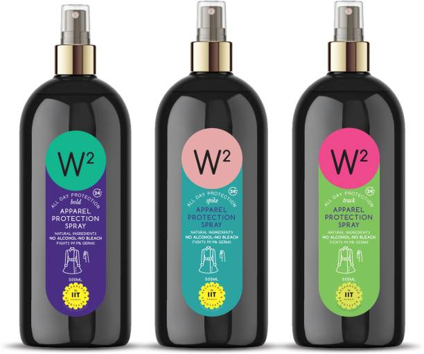W2 Apparel Protection Spray with Natural Ingredients No ALCOHOL -No BLEACH Fights with 99.9% Germs Protection 500 ML upto 24 Hour (Combo Pack of 3 - 1 No. Bold & ! 1 No. Track & 1 No. Spike)