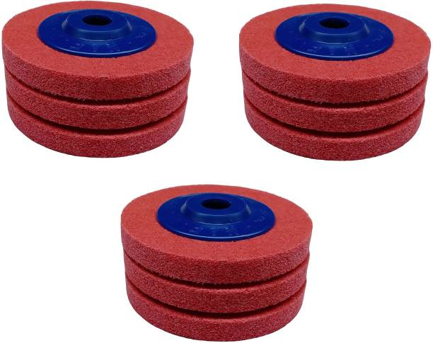 INDITRUST 9 PCS Non Woven Polishing Wheels For Metal Stainless Steel Polish And Rust Removal And Red Color Angle Grinder Tool Angle Grinder