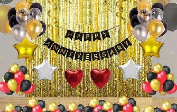 PAHUJA Printed Solid Happy Anniversary Decoration Combo (70 combo pak) Happy Anniversary Black Banner(13 flag latter 1 pak) - Gold Foiled Fringe Curtain (3 pak) - star and hart Foil Balloons (2 hart/4 star) - Latex Balloons Black,Gold,Silver,Red (60 pak balloons) Balloon (Multicolor, Pack of 70) Balloon