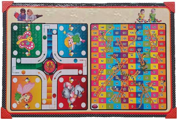 Shanti Niketan Wooden Study & Multipurpose Kids Ludo, Snake & ladder Game table 24x16 Inch Word Games Board Game