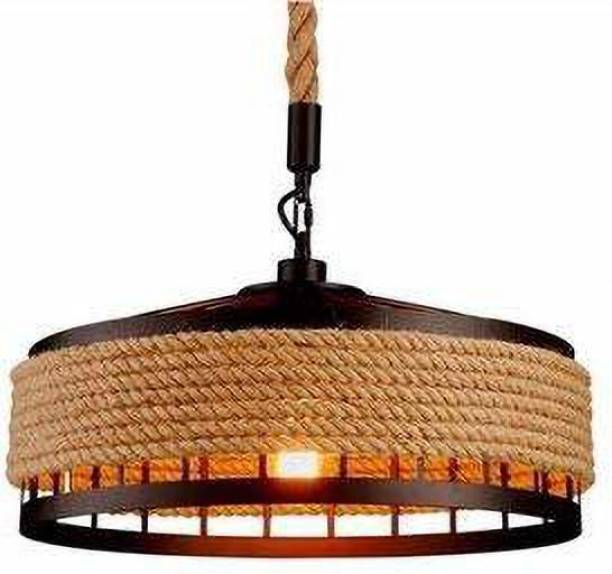 jalpoorna Filament Bulb Ceiling Light, Retro Industrial Iron Chandelier Rustic Rope Iron Round Hanging Iron Cage Hanging Lamp with Bulb Pendants Ceiling Lamp