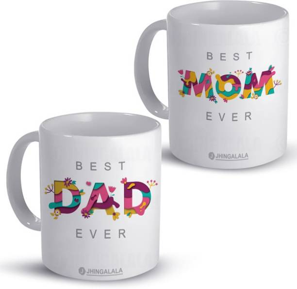 Jhingalala Best Mom Ever and Best Dad Ever Printed Combo Pack Gift for Father, Mother, Dad, Mom For Birthday, Gift Pack For Anniversary, Parent's Day Ceramic Coffee Mug
