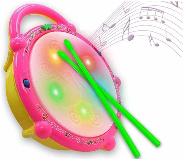 HACKURS Flash Drum with Sticks, Electronic Non Toxic Drum with Lights for Kids