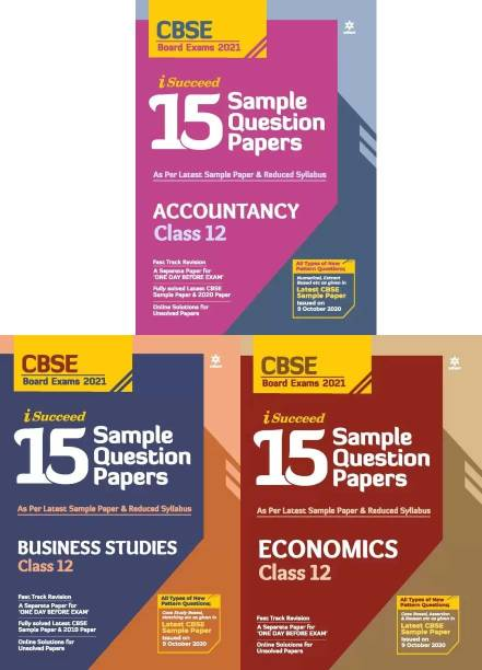 Arihant CBSE 15 Sample Paper Accountancy Business Studies Economics Class 12 For 2021 Exam With Reduced Syllabus