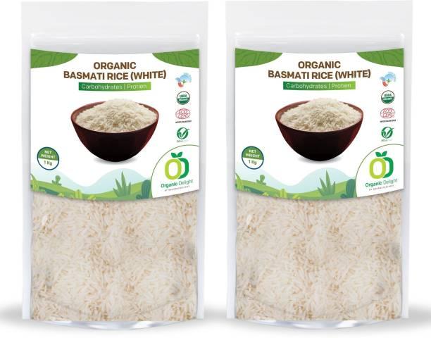 Organic Delight Basmati Rice (White) 1 KG pack of 2 Basmati Rice (Long Grain, Sticky)