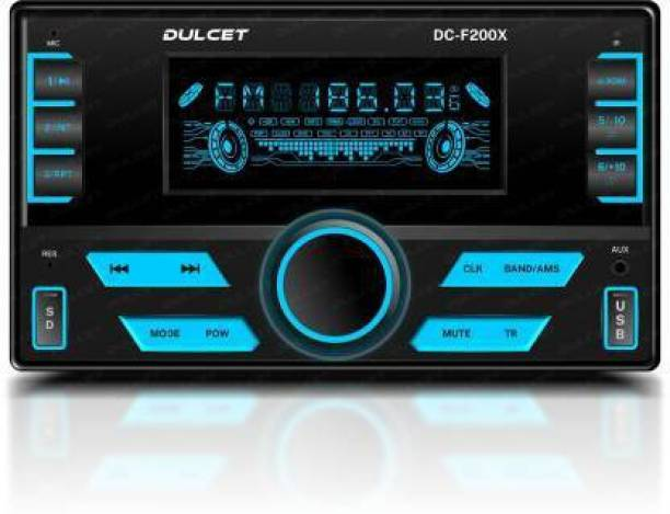 DULCET DC-F200X 220W High Power Stereo Output Universal Fit Double Din Mp3 Car Stereo with Hands-Free Calling, Bluetooth, USB Input FM Radio, AUX Input, SD Card Slot, Remote Control, 7 Color LCD Display, ID3 Tag with EQ, Bass, Treble Balance & Fader Control DC-F200X Car Stereo