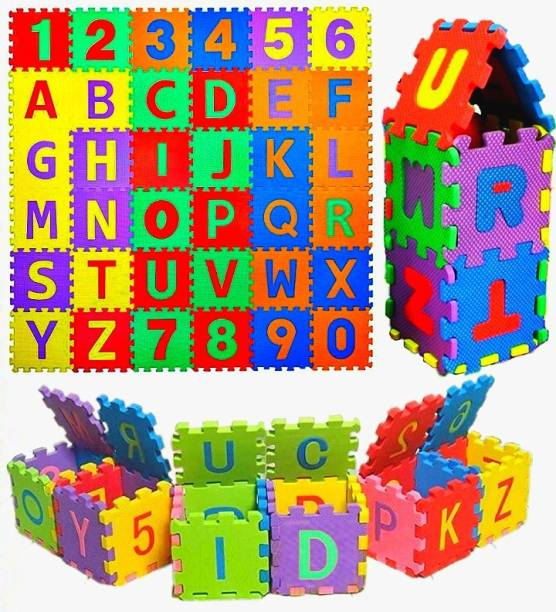 Maadi ABC & Numbers Mini Foam Puzzles Mat for kids Learning, Fun Activity & Building Blocks Thickest (36 Pieces, Multicolor)