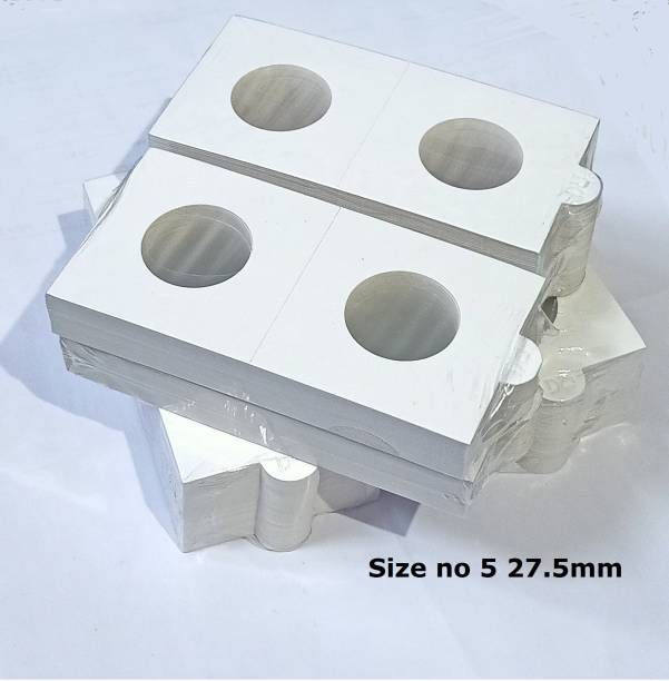 rci Cardboard Coin Holders for Coin Supplies Pack of 200 Size No. 5 (White, 27.5mm) Coin Bank