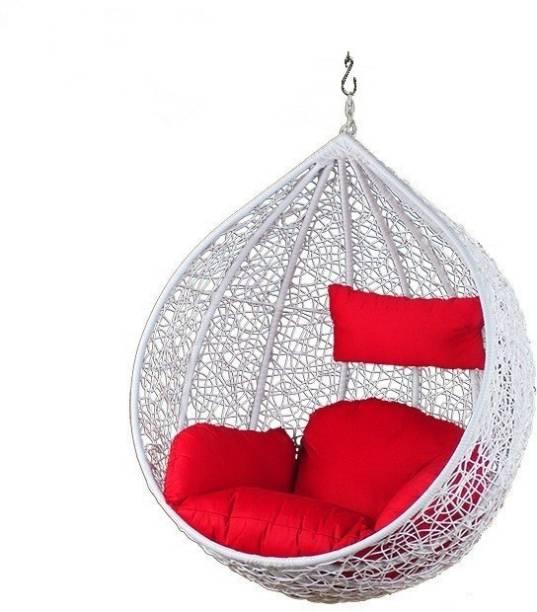 Furniture kart Swing Jhula Hanging White & Red Iron Hammock