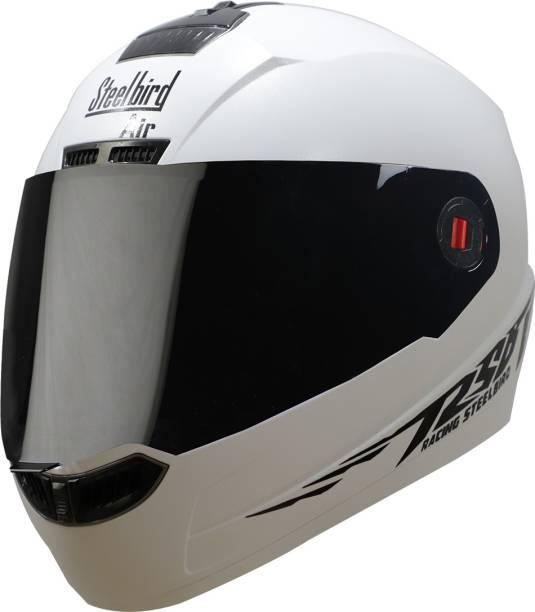 Steelbird 1 Moon Reflective Full Face Helmet in Dashing White Motorbike Helmet